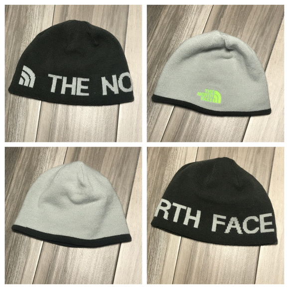 The North Face Youth Bones Beanie Hat Green//Tnf Black Medium NWT